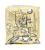 Morning coffee in cafe, sketch for your design Royalty Free Stock Photography