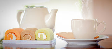Morning coffee and cake Stock Images