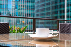 Morning coffee in the city Stock Photos