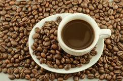 Morning coffee with coffee beans Royalty Free Stock Photography