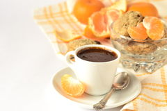 Morning coffee with cookies and tangerines Stock Photo
