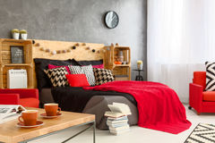 Morning coffee in cozy bedroom Royalty Free Stock Images