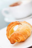 Morning coffee with croissant Stock Photo