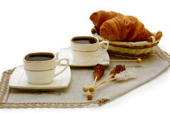 Morning coffee and croissants. Royalty Free Stock Image