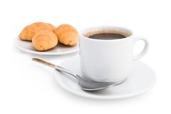 Morning coffee and croissants. On the white background Royalty Free Stock Image