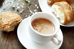 Morning Coffee and Croissants Royalty Free Stock Photography
