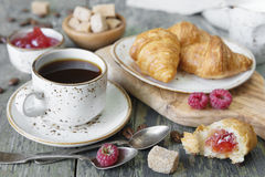 Morning coffee with a croissants Stock Photography