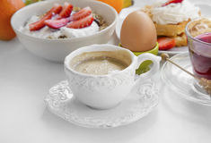 Morning coffee cup with breakfast meal Royalty Free Stock Photo