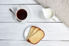 Cake with coffee cup. Top view Royalty Free Stock Photo