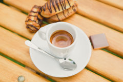 Morning coffee. Cup coffee in park Royalty Free Stock Photography