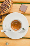 Morning coffee. Cup coffee in park Stock Photo