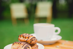 Morning coffee. Cup coffee in park Stock Image