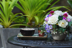 Morning coffee cup  in  garden Stock Image