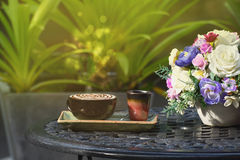 Morning coffee cup on table  in  garden Stock Photography