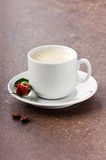 Morning coffee for darling with a rose on St. Valentine's Day Royalty Free Stock Image