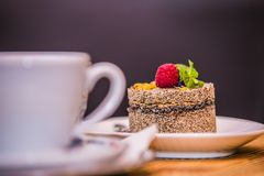 Morning coffee and delicious sweet baked cake with fruit stock photo