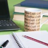 Morning coffee on the desk Stock Photos