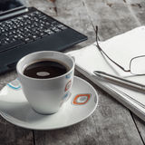 Morning coffee on the desk Stock Images