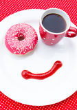 Morning coffee and donut Royalty Free Stock Images