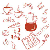Morning coffee doodles set Stock Photography