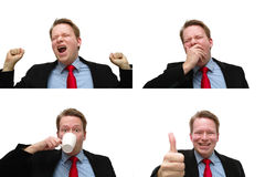 Morning coffee effect. Young businessman beeing very tired till his cup of coffee Royalty Free Stock Photo
