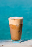 Morning coffee frappe by the sea. Stock Photo