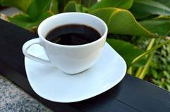 Morning coffee in garden. Aromatic coffee morning in garden Royalty Free Stock Photos