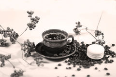 Morning coffee. Hot coffee in a brown cup, coffee beans and branches around stock photos