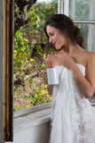 Morning coffee and lace Royalty Free Stock Image