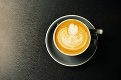 Morning coffee. Coffee latte art top view stock images