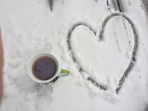 Morning coffee With love. Winter morning coffee with love and snow Stock Photo