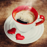 Morning coffee for a loved one. Valentine's day. Love concept royalty free stock image