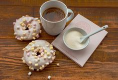 Donuts with marshmallow royalty free stock image