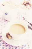 Morning coffee with milk and brown sugar, vintage style Royalty Free Stock Image