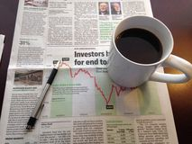 Morning Coffee and newspaper Royalty Free Stock Photography