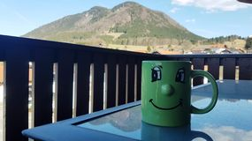 Morning coffee with a nice view stock photo