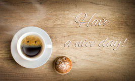 Morning coffee with note Royalty Free Stock Images