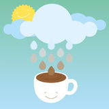 Morning coffee. Optimistic illustration with cute coffee cup character stock illustration