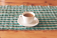 Morning coffee. Ordinary morning coffee on a wood table royalty free stock photo