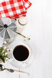 Morning coffee over white wooden background Royalty Free Stock Image