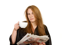 Morning Coffee and Paper Royalty Free Stock Photo