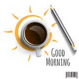Morning Coffee with pencil and wording Good morning Royalty Free Stock Images