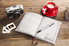 Morning Coffee and Pictures Royalty Free Stock Photography