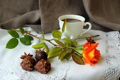 Morning Coffee, Rose And Candy Stock Image