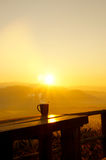 Morning coffee. Silhouettes on sunrise morning coffee Royalty Free Stock Photo