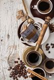 Morning coffee with spices, brown sugar and pastries. Stock Image