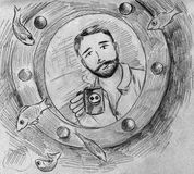 Morning coffee in submarine room. Bearded smiling man drinks coffee or tea while looking out of sumbarine round window at fishes swimming outside in the sea Royalty Free Stock Photography