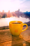 Morning coffee in sunrise Royalty Free Stock Image