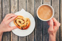 Morning coffee with with sweet pastries Stock Photos