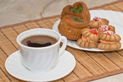 Morning coffee. On a table there is a coffee prepared for a breakfast Royalty Free Stock Photography